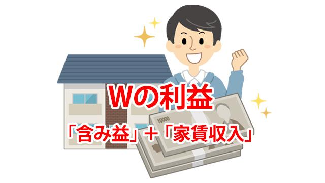 Wの利益 「含み益」+「家賃収入」